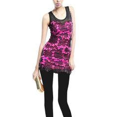 Allegra K Lady Scoop Neck Sleeveless Mesh Top Stretchy Splice Top Shirt Bright Pink Black XS Allegra K. $12.00