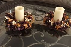 Set of Festive Thanksgiving Floral LED Candle by FloralsAndSpice