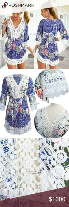 NWT WOMEN BOHO V NECK FLORAL 3/4 SLEEVE Brand new Sexy Cotton blend Above knee  V neck Lace S. US SIZE US 4 M. US SIZE US 6 L. US SIZE US 8-10 XL. US SIZE US 12 angelochekk boutique  Dresses Mini