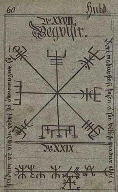 "Vegvisir, the symbol in the Huld Manuscript, collected in Iceland by Geir Vigfusson, 1860. A leaf of the manuscript provides a drawing of the Vegvísir symbol, giving its name, and, in prose, declaring that ""if this sign is carried, one will never lose one's way in storms or bad weather, even when the way is not known""."