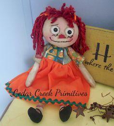 Fall/ Halloween Rag doll by CedarCreekPrimitives on Etsy
