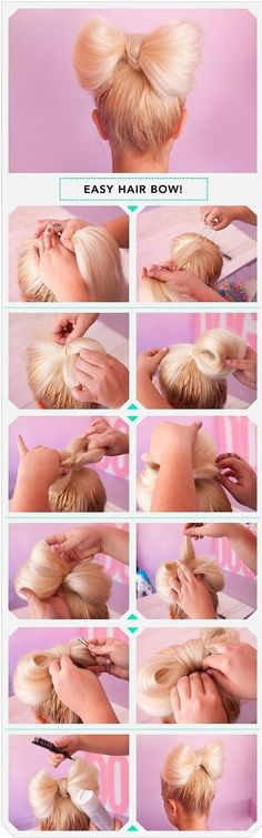 Five interesting DIY hair bow tutorials. Find out how to make bow out of your hair. Make bow in your hair as hair bow bun, or together with brad,fishtail. Everyday Hairstyles, Pretty Hairstyles, Cute Hairstyles, Wedding Hairstyles, Teenage Hairstyles, Romantic Hairstyles, Little Girl Hairstyles, Braid Hairstyles, Beauty Tutorials