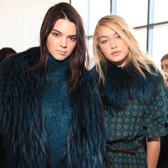 Models Kendall Jenner and Gigi Hadid pose together backstage before walking in the Michael Kors show. Photo by Elizabeth Lippman for The New York Times #NYFW