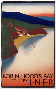 Box Canvas Print (other products available) - London & North Eastern Railway (LNER) poster promoting rail travel to Robin Hood& Bay in Yorkshire. Artwork by Tom Purvis.<br> - Image supplied by National Railway Museum - inch Box Canvas Print made in the UK Railway Posters, Travel Posters, Robin Hoods Bay, National Railway Museum, Seaside Towns, Canvas Prints, Art Prints, Digital Image, Photo Mugs