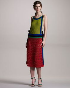 Beaded Colorblock Halter Dress by Alberta Ferretti at Neiman Marcus.