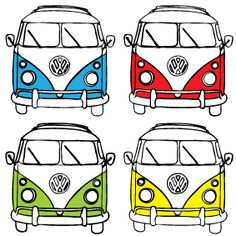 vw. Volkswagen Bus, Vw Camper, Combi Ww, Art Graphique, Painted Rocks, Doodles, Artwork, Stickers, Quilts