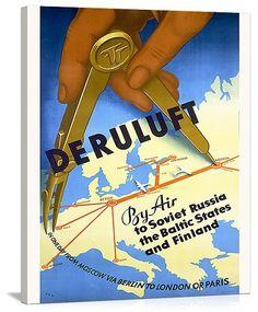 Deruluft German Airline Vintage Printed On Canvas