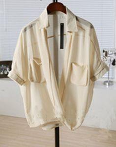 Beige Half Sleeve Pockets Chiffon Sheer Wrap Blouse