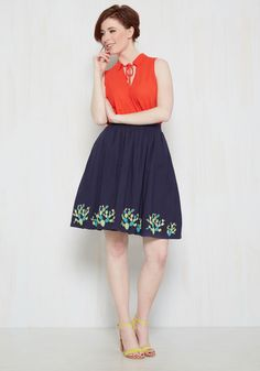 Go Where You Wanna Grow Skirt. And do what you want to do, all while feeling your finest and most fun in this navy blue midi skirt! #blue #modcloth