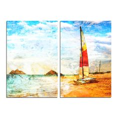 'Red Sail' by Alexis Bueno 2 Piece Graphic Art on Wrapped Canvas Set