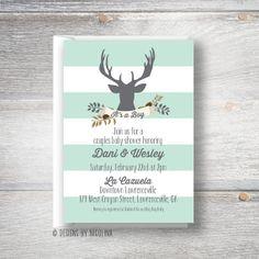 Little Antlers /// Woodland Deer /// Baby Boy Shower Invitations on Etsy, $24.75