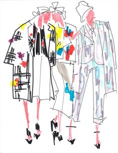 Fashion Illustration by Julie Houts (Brooklyn), SS Thom Browne. Moda Fashion, Fashion Art, Trendy Fashion, Fashion Models, Parisian Fashion, Bohemian Fashion, Fashion Clothes, Retro Fashion, Style Fashion