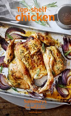 Fancy a change from your usual roast? This lemony, garlicky chicken is a winner. Yummy Chicken Recipes, Chicken Meals, Roast Chicken, Roasted Chicken And Potatoes, Healthy Food, Healthy Recipes, Sunday Roast, Sainsburys, Gluten Free Chicken