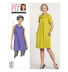 Vogue 1173 is a #dress or #top that can be worn belted or loose. Another great Sandra Betzina pattern perfect for winter with tights and boots or spring with the sleeveless view. Oh and it has pockets! This Today's Fit pattern V1173 is now out-of-print but we have a few available.