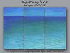 Abstract seascape painting by Denise Cunniff. Jewel tone & teal home decor, Living room art or works well in dining room or bedroom. Browse ArtFromDenise.com or view this art at https://www.etsy.com/listing/182724767/large-wall-art-abstract-seascape
