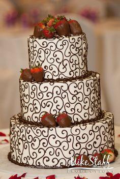 cake: chocolate swirls with chocolate covered strawberries