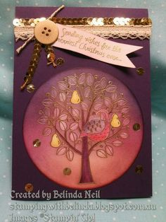 Stampin' it up with Belinda: Enchanted Purple Christmas Card (...and a partridge in a pear tree)