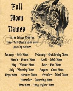Full Moons & Their Names, Book of Shadows Spell Page, Wicca, Witchcraft, Pagan - Witch - Combins Wiccan Witch, Wicca Witchcraft, Magick Spells, Wiccan Books, Witch Spells Real, Wiccan Rituals, Magick Book, Full Moon Names, Symbole Viking