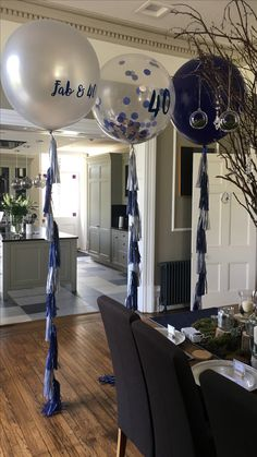 Giant Navy Blue Balloon Clear Balloons Filled With And Silver Confetti All 40th Birthday