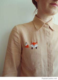 Nude shirt with fox print