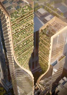 UNStudio Named Winner of Landmark Melbourne Skyscraper Competition,Green Spine. Image Courtesy of UNStudio / Cox Architecture Architecture Paramétrique, Futuristic Architecture, Amazing Architecture, Classical Architecture, Green Tower, Tower Design, Design City, House Design, Glass Facades
