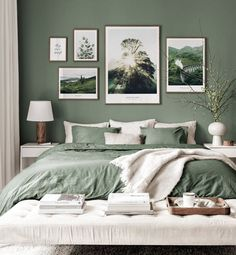 Green Bedroom Walls, Sage Green Bedroom, Green Rooms, Room Ideas Bedroom, Home Decor Bedroom, Master Bedroom, Green Bedroom Colors, Green Bedroom Decor, Gallery Wall Bedroom