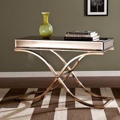 Upton Home Annabelle Champagne Mirrored Sofa/ Console Table ($283) ❤ liked on Polyvore featuring home, furniture, tables, accent tables, mirror accent table, mirrored table, metallic furniture, mirrored glass table and mirrored accent table
