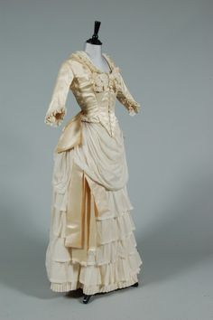 n ivory satin and lawn bridal gown, late 1880s-early 1890s, 400 £