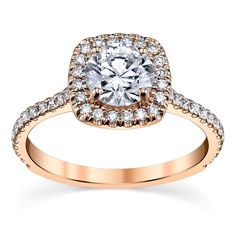 14K Rose Gold Halo Diamond Engagement Ring Setting 3/8 Cttw. From Suns And Roses Collection
