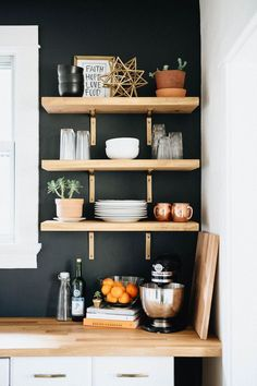 4 Successful Clever Tips: Minimalist Home Living Room Small Spaces minimalist kitchen industrial home.Minimalist Home Decoration Coffee Tables. Kitchen Shelves, Diy Kitchen, Open Shelves, Kitchen Black, Kitchen Ideas, Wood Shelves, Open Kitchen, Kitchen Colors, Floating Shelves