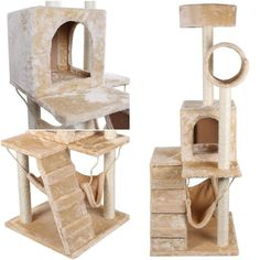 Spine-tingling Modern 52' Cat Tree Kitten Condo Pet Play Tower Scratcher Post Color Beige with Hammock ** New and awesome cat product awaits you, Read it now  : Cat Tree