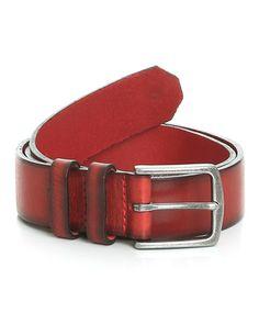 "Budworth Two Tone Branded Rivet Leather Belt // Red + Black (32"" Waist)"