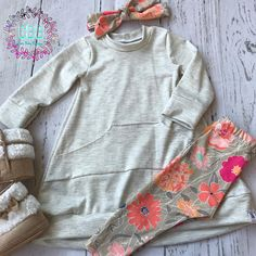 Baby girl tunic sweatshirt sweater dress leggings and