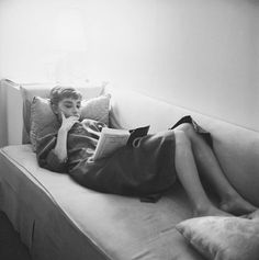 Audrey Hepburn, 1953, relaxing during the filming of Sabrina