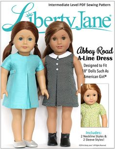 Pixie Faire Liberty Jane Abbey Road A-Line Dress Doll Clothes Pattern for 18 inch American Girl - Pixie Faire