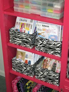 Dream Craft / Sewing Room Makeover! Zebra, Chevron, Black, White & Pink Peg Board, Laminate Entertainment Center Upcycle, Large Worktable, Organization & Storage Ideas, Cone Thread Storage, Fabric Storage, Hidden Fireplace, Chalkboard, Zebra Clock,