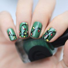xmas nail art - lights