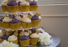 Purple Gold and Cream Cupcake Tower for Colleen's Graduation party.