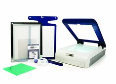 Yudu personal screen printer includes emulsion sheet, mesh screen, adult t-shirt platen, platen adhesive sheet, squeegee, 2-ounce bottle of black ink.