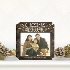 'Rustic Lights' #Christmas Cards in Dark Gray add a touch of glimmer to your family photo