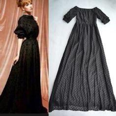 High Quality 2014 Runway Maxi Dress Black Small Dots Embroidery V-back Long Dress Floor Length 160cm 140714L03 $89.90