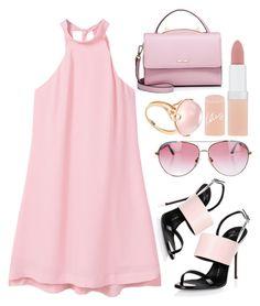 """Pink Dress"" by piedraandjesus ❤ liked on Polyvore featuring MANGO, Giuseppe Zanotti, Minnie Rose, Goshwara, Rimmel, WithChic and PinkDress"