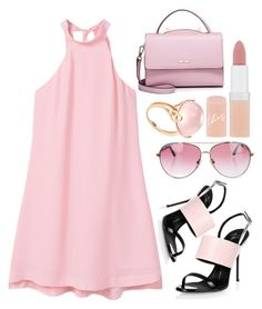 """Pink Dress"" by piedraandjesus ❤ liked on Polyvore featuring MANGO, Giuseppe Zanotti, Minnie Rose, Goshwara, Rimmel, WithChic and PinkDress"