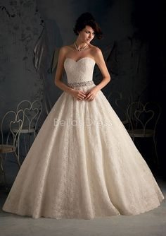 Lace Sweetheart Chapel Train With Sash/ Ribbon Ball Gown Dramatic Wedding Dresses | Flickr - Photo Sharing!