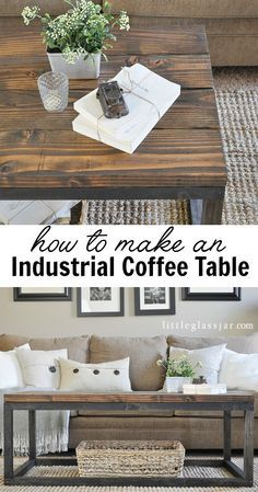 Tutorial to make this DIY Industrial Coffee Table via littleglassjar.com