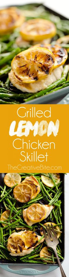 Grilled Lemon Chicken Skillet is a delicious dish that only requires one-pot, 15 minutes and 5 ingredients, including lean chicken breasts, lemons and asparagus, to prepare for an easy and healthy weeknight dinner bursting with fresh flavors! #Chicken #OnePot #15Minutes #Easy #Weeknight #Dinner