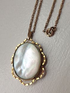 Antique Art Deco Retro Mother of Pearl Oval by MemoryStation