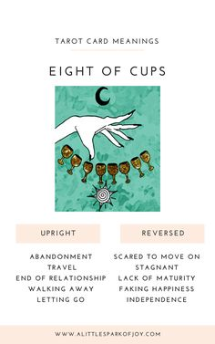 Have you chosen to leave a relationship, love, friendship, home, or job behind? The Eight of Cups tarot card represents abandonment and letting go. Eight Of Cups, Tarot Significado, Rider Waite Tarot, Tarot Card Meanings, Tarot Spreads, Oracle Cards, Ending A Relationship, Tarot Decks, Tarot Cards