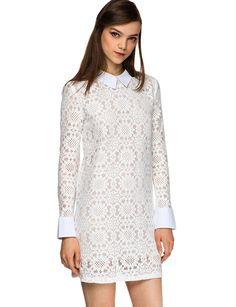 White Lace Long Sleeve Dress - Peter Pan Collar Dress - $62