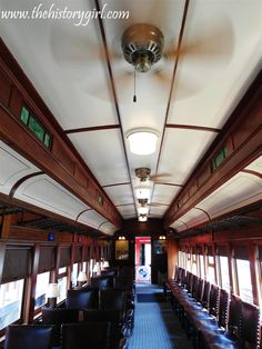 Interior of the restored 1927 Central Railroad of NJ club car, 'Jersey Coast', located at the Whippany Railway Museum, in Whippany, NJ. The museum is located in a restored 1904 Freight House of the Morristown and Erie Railroad. The railroad yard includes the Whippany passenger depot, coal yard, 1904 wooden water tower, and dozens of historic railcars, including one of the oldest steam locomotives in America, Southern Railway No. 385, built in 1907. Discover more @ www.thehistorygirl.com